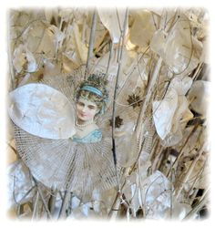 from the somerset life shoot at gilding...antique crinoline, victorian scrap, and old dresden stars...