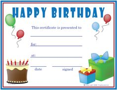 High Quality Free Printable Gift Certificate Forms | Free Certificates: Birthday (Boy)  Birthday Coupon Templates Free Printable