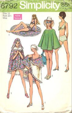 Bathing suit/poncho sewing pattern, 1970