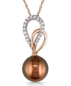 Take a look at this Chocolate Tahitian Pearl & Diamond Fashion Pendant Necklace on zulily today!