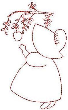 Sunbonnet Sue with Apple Boys Quilt Patterns, Applique Quilt Patterns, Hand Applique, Embroidery Applique, Embroidery Stitches, Sewing Patterns, Free Machine Embroidery, Hand Embroidery Designs, Embroidery Patterns