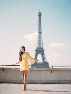 Paris photoshoot, dress in loose yellow chiffon, feminine and pretty. #fashion