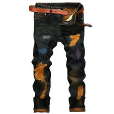 29.80$ Buy here - http://ali4nm.shopchina.info/go.php?t=32764520806 - Men's jeans high quality Straight Hole jeans men Casual Retro Slim Jeans Pants ripped jeans for men denim trousers 29.80$ #bestbuy
