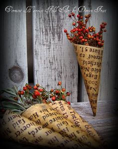 dried rose hips and coned paper stained