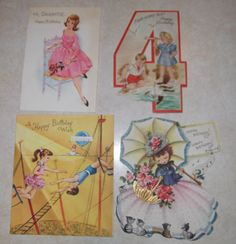 4 vintage  retro   Birthday  cards by pgriff on Etsy
