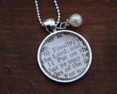 Vintage Bible Verse Pendant Necklace Ephesians 6:10  $21.00