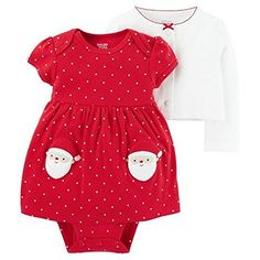 Baby Girls' Santa 2 Piece Dress Set White/Red - Just One You Made by Carter's, Infant Girl's, Size: 12 M Carters Just One You, Santa Dress, Girl Outfits, Cute Outfits, Carters Dresses, Sweater Set, Sewing For Kids, Holiday Outfits, Kids Fashion