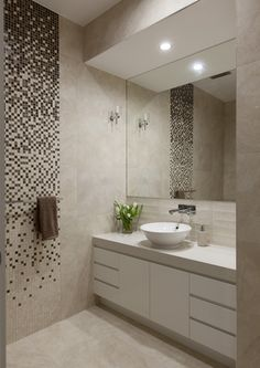 Tile bathroom - www galahomes com Bathroom Sink Design, Bathroom Layout, Bath Design, Bathroom Interior Design, Modern Bathroom, Small Bathroom, Tile Design, Kitchen Interior, Bad Inspiration