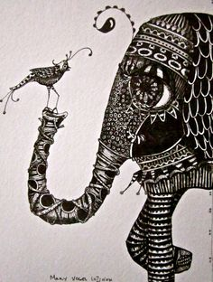 Zentangle black and white drawing ink  elephant and bird fantasy picture
