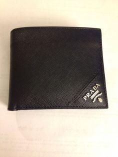 Prada Wallet (Men's Pre-owned Soft Calf Black Leather Designer Wallet)