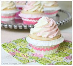 "via the cakeblog.com(a blog that I feel sure will be added to the sites (& blogs) I like board!!!  said to be: ""Amazing"" vanilla bean cupcakes with strawberry and vanilla meringue buttercream and DIY cupcake wrappers.  I love that this baker uses vanilla bean paste and cannot wait to make these and explore the recipes on this blog!   :)"