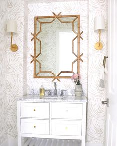 Shop the Lanai Mirror and browse the rest of our Mirrors at Serena and Lily. We specialize in unique, designer, and coastal styles. Powder Room Wallpaper, Palm Wallpaper, Small Bathroom Wallpaper, Feather Wallpaper, Wallpaper Ideas, Estilo Colonial, Bathroom Interior Design, Bathroom Designs, Girl Bathroom Ideas