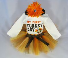 """Babys First Thanksgiving Outfit """" My First Turkey Day """" - Girls Tutu Bodysuit and Headband Set - Size 12 Months - TG1301. $40.00, via Etsy."""