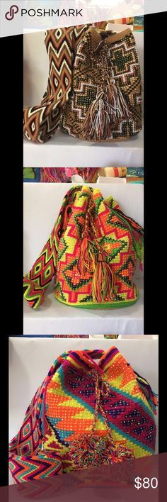 Wayu Mochila Bag -Authentic Hand woven bags made from indigenous Wayuu people from the northern coast of Colombia with intricate tribal designs and colors that represents the natural elements. Made with twisted cotton, thread, and crochet. It's decorated with stones. Each bag is unique and it can take approximately 15 to 20 days to weave.  -The Wayuu Mochila Bag is very durable, strong, and not heavy at all; Easy to maintain.                   -Make them the perfect attire for day or night…