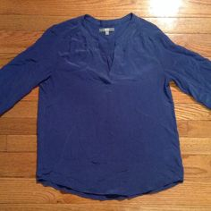 UNIQLO EUC blue 100% silk top blouse elastic cuff EUC no issues. Worn once or twice UNIQLO Tops Blouses