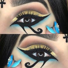 19 Cleopatra Makeup Ideas for Halloween Cleopatra Halloween, Cleopatra Costume, Halloween Eye Makeup, Halloween Eyes, Halloween Skull, Costume Halloween, Vintage Halloween, Egyptian Eye Makeup, Egypt Makeup