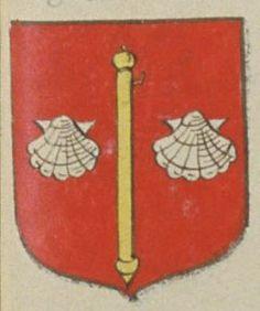 Francois de la BARRE, Ecuyer, Seigneur d'Aubigny. Porte : de gueules, à un bourdon d'or, accosté de deux coquilles d'argent | N° 80 > Chinon