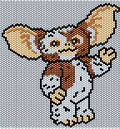 Gizmo from Gremlins Brick/Peyote Pattern 72 Columns X 60 Rows (Pattern by me, Man in the Book) Kandi Patterns, Peyote Stitch Patterns, Hama Beads Patterns, Seed Bead Patterns, Beading Patterns, Quilt Patterns, Marvel Cross Stitch, Motifs Perler, Beaded Banners