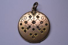 Antique Victorian French Paste Locket Pendant with Engraved Design by w H Co   eBay