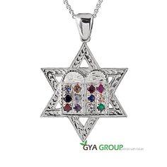 925 sterling Silver Kabbalah Magen David pendant with Priestly breastplate stone #AviramToledo #Pendant