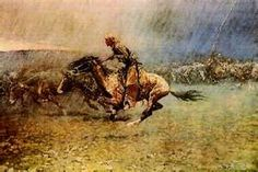 Frederic Remington The Stampede painting for sale - Frederic Remington The Stampede is handmade art reproduction; You can shop Frederic Remington The Stampede painting on canvas or frame. Frederic Remington, Westerns, Nocturne, Painting Prints, Art Prints, Into The West, Cowboy Art, Cowboy Pics, Cowboy Images