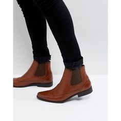ASOS Chelsea Boots In Tan Faux Leather With Brogue Detail ($45) ❤ liked on Polyvore featuring men's fashion, men's shoes, men's boots, tan, mens pointed chelsea boots, mens pointed shoes, mens tan shoes, asos mens boots and mens vegan shoes