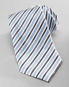 Ermenegildo Zegna Striped Silk Tie, Light Blue/Navy - Bergdorf Goodman