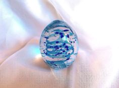 Handmade Glass Paperweight with Aqua And Cobalt Blue.  Hand Blown Glass Art. on Etsy, $41.00