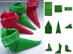 Napkins fold Christmas: With instructions, candles and Co. succeed Paper napkin boots fold your own instructions Paper Napkin Folding, Christmas Napkin Folding, Christmas Napkins, Christmas Origami, Paper Napkins, Christmas Crafts, Christmas Decorations, Christmas Ornaments, Deco Table Noel