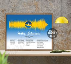 Yellow Submarine, Revolver, Custom Sound Wave and Lyrics art, Printable digital poster, Instant Download files, Personalized soundwave gift Sound Wave Picture, Making Memories Of Us, Printable Art, Printables, Beatles Songs, Rainbow Connection, Classic Songs, Yellow Submarine, Sound Waves