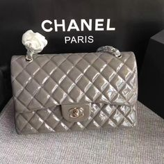 Chanel classic flap jumbo size patent leather gray