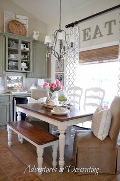 a little spring in the breakfast area, kitchens, seasonal holiday d cor, Our new farmhouse bench helps with the French Country feel I want this space to have