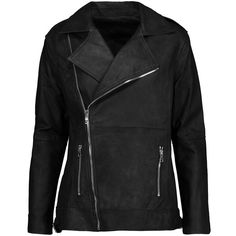 RtA - Chrisophe Zip-embellished Leather Biker Jacket ($518) ❤ liked on Polyvore featuring outerwear, jackets, black, zipper leather jacket, zipper jacket, motorcycle jacket, real leather jackets and leather jackets