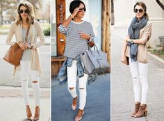 Striped Blouse White Skinny Jeans Outfit Love the white jeans Mode Outfits, Casual Outfits, Winter Outfits, Denim Outfits, Early Spring Outfits, Classic Outfits, Casual Jeans, Casual White Jeans Outfit Summer, Summer Travel Outfits