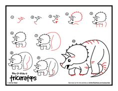 How to draw a triceratops - video tutorial and printable