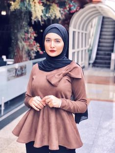 Chamois brown blouse - All About Hijab Fashion Summer, Modest Fashion Hijab, Modern Hijab Fashion, Hijab Fashion Inspiration, Abaya Fashion, Muslim Fashion, Fashion Dresses, Hijab Dress Party, Hijab Style Dress