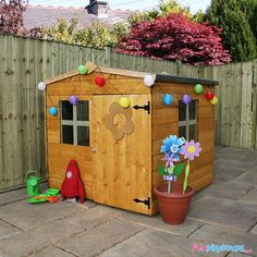 This Windsor Bluebell Traditional Kids Wooden Summerhouse is sure to become a permanent fixture in your children's playtime. Visit Shedstore for our fantastic range of playhouses and more. Kids Wooden Playhouse, Tortoise Enclosure, Single Doors, Play Houses, Beautiful Homes, Shed, Home And Garden, Outdoor Structures, Outdoor Decor