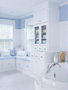 sky blue and white bathroom baby blue pantone serenity sky blue and white bathroom baby blue pantone serenity - Unique Baby Bathing White Cottage, Coastal Cottage, Cottage Style, Baby Bathroom, White Bathroom, Small Bathroom, Bathroom Colors, Tadelakt, Vintage Bathrooms