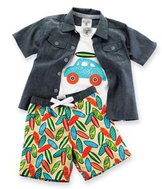 Get your little surfer ready for fun in the sun and sand with this beachy outfit! The 3 piece set comes with a chambray button down shirt with collar detail, surfboard printed sueded poplin swim shorts, and cotton t-shirt with surfboard/car applique. Available in sizes 0-6 months, 6-9 months, 9-12 months, 12-18 months 2T and 3T.