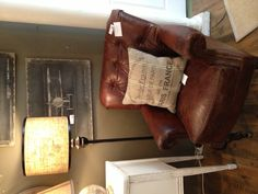 Brown Leather Tufted Chair, Rustic Decor