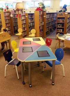 My favorite tables. Easily moved, reconfigured, built-in iPad holder, COLORFUL