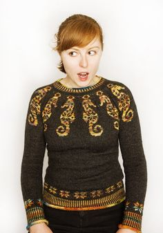 Amazing! ...seahorses sweater, knit by bellagingerella....