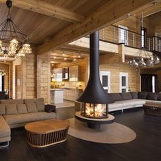 Nice Log home living room. Looks super comfy. The post Log home living room. Looks super comfy…. appeared first on Pirti Decor . Luxury Homes Interior, Interior Design, Log Home Interiors, Log Home Living, Log Cabin Homes, Log Cabins, Wooden House, Wooden Walls, Fireplace Design