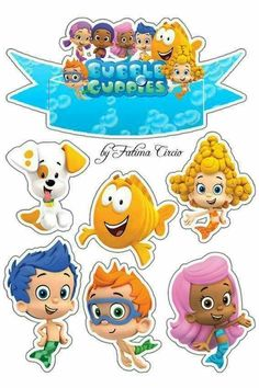 Tags Disney Princess Crafts, Character Activities, Ladybug Cakes, Bubble Guppies Birthday, Kids Birthday Themes, Boy Character, Cute Clipart, Guppy, Printable Stickers