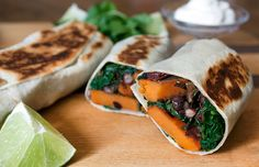 Sweet Potato and Black Bean Burrito. The complex carbs in this hearty wrap help stabilize blood sugar while protein and fiber keep hunger at bay. You won't miss meat. Vegetarian Sweet Potato Recipes, Healthy Recipes, Healthy Lunches, Vegetarian Sweets, Lunch Recipes, Healthy Foods, Breakfast Recipes, Dinner Recipes, Healthy Eating