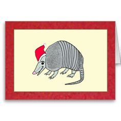 Armadillo in Santa Hat Texas style Christmas Greeting Card