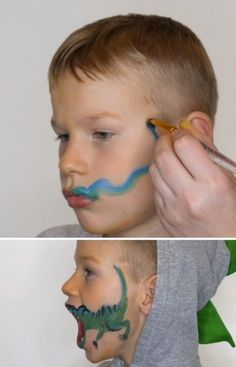 Face Painting For Kids, Dinosaur Face Painting, Face Painting Designs, Diy For Kids, Cool Kids, Crafts For Kids, Dinosaur Activities, Craft Activities For Kids, Dinosaur Costume