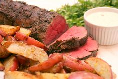 Olive and Herb Crusted Beef Tenderloin with Dijon Dipping Sauce  http://cookingwithmelody.com/all-recipes/main-courses/olive-and-herb-crusted-beef-tenderloin-with-dijon-dipping-sauce/