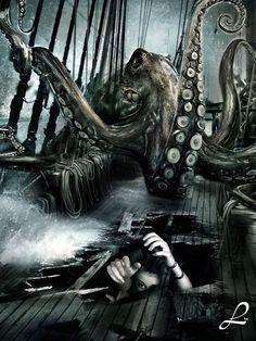 Kraken Octopus rendering by ~leovilela Kraken Octopus Tattoos, Octopus Art, Pirate Art, Pirate Life, O Kraken, Dark Fantasy, Fantasy Art, Release The Kraken, Giant Squid
