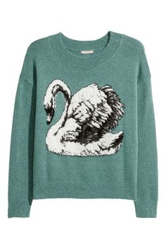 Turquoise/swan. Sweater in a soft knit with a lightly brushed finish. Wide neckline, low dropped shoulders, and ribbing at cuffs and hem.